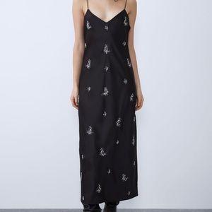 Zara embroidered satin effect dress